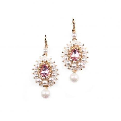 Touch of Luxury | Handmade Jewellery Art Avenue - White Drop Earrings with Light Pink Accent | Decorated With Swarovski Crystals and Swarovski Pearls