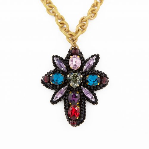 Crystal Embroidery Pendant Necklace