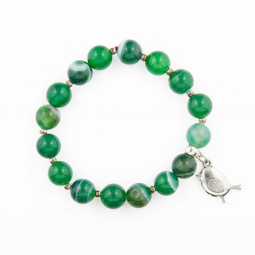 Touch of Luxury - Handmade Jewellery Art Avenue - Green Beaded Bracelet With Little Bird Tag | Decorated With Swarovski Crystals