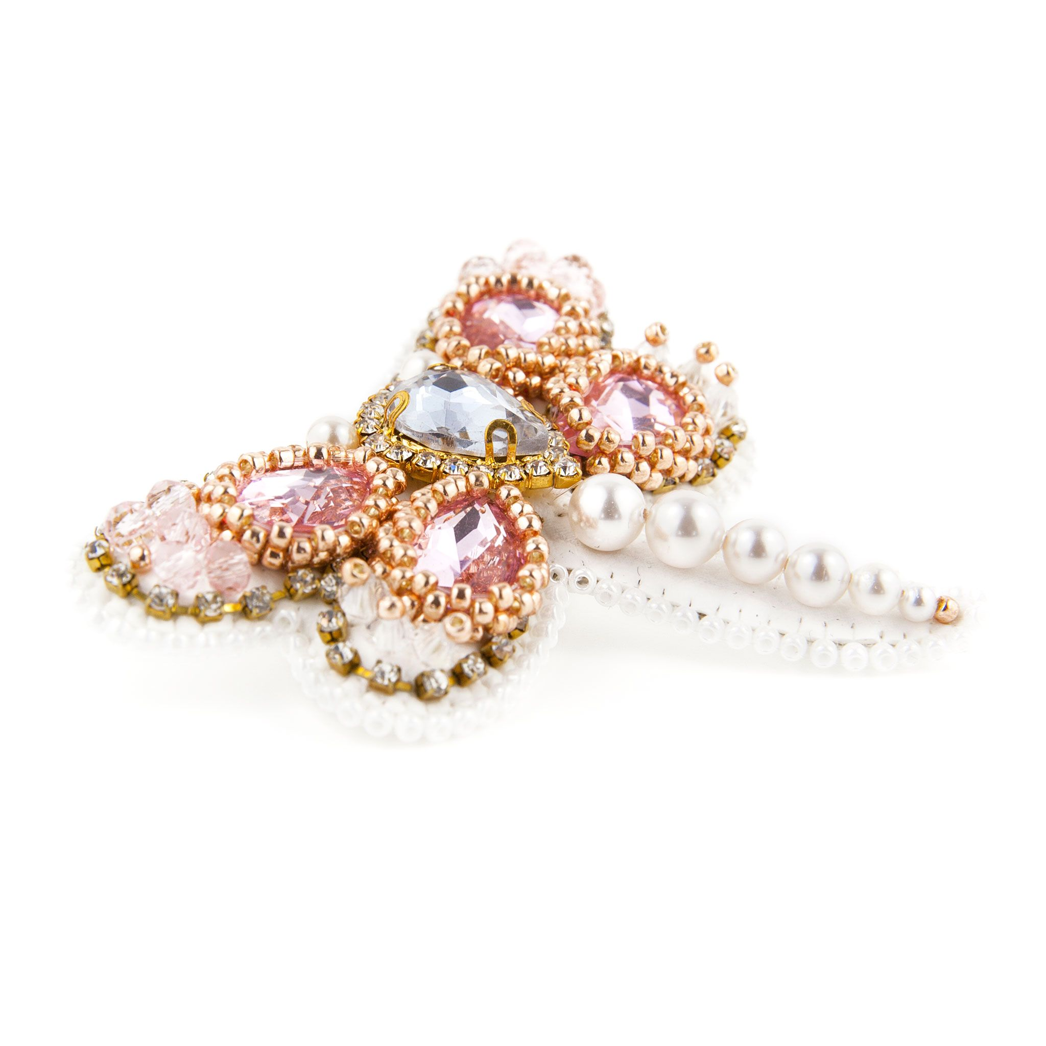 Touch of Luxury - Handmade Jewellery Art Avenue - Dragon-Fly-Shaped Beaded Brooch Decorated With Swarovski Crystals and Swarovski Pearls