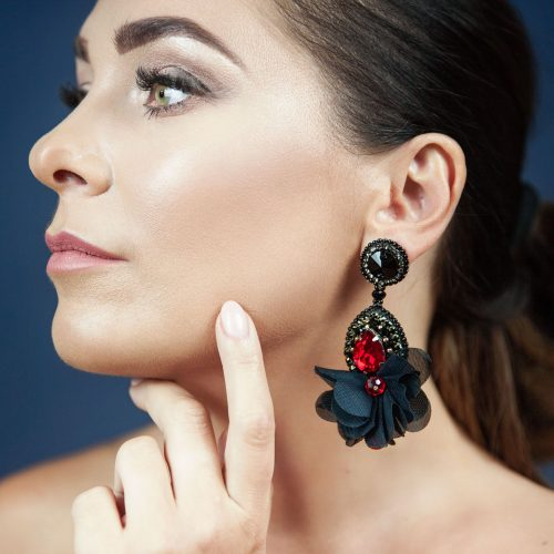 Drop Silk Flower Earrings