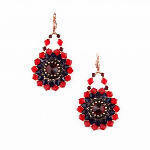 Bead Embroidery Drop Earrings