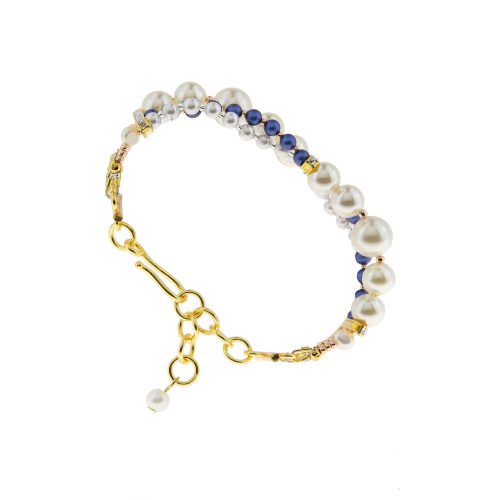 Touch of Luxury | Handmade Jewellery Art Avenue | One-of-a-kind bracelet with Royal Blue and white Swarovski pearls