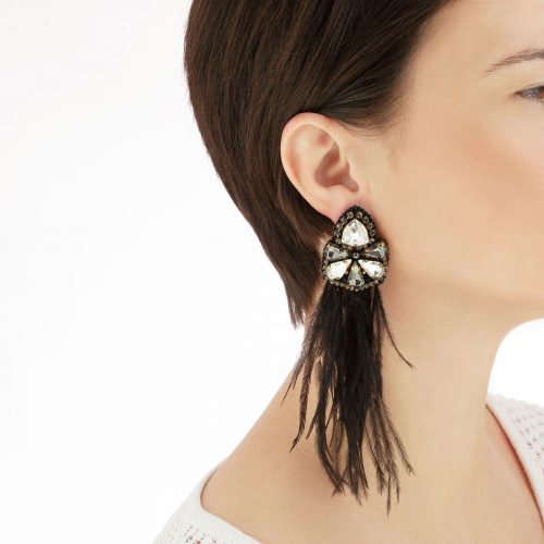 Earrings with Black Feathers