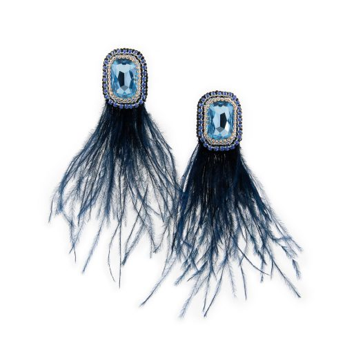 Earrings with Blue Feathers