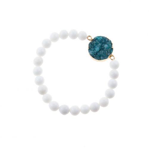 White Agate Bracelet with Turquoise Druzy Agate Pendant | Touch of Luxury