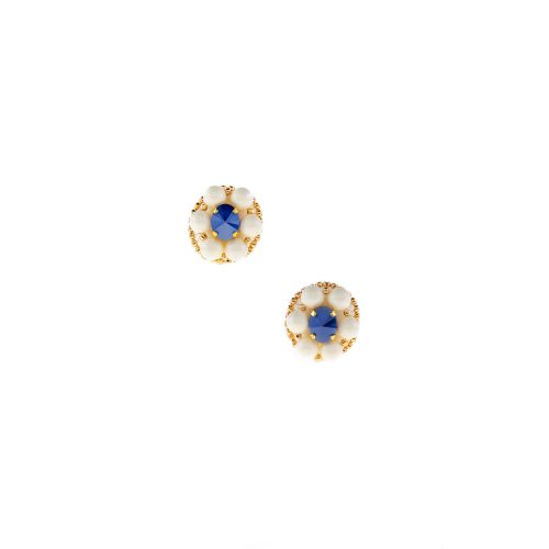 Stud earrings embroidered with Swarovski Crystal Pearls | Touch of Luxury