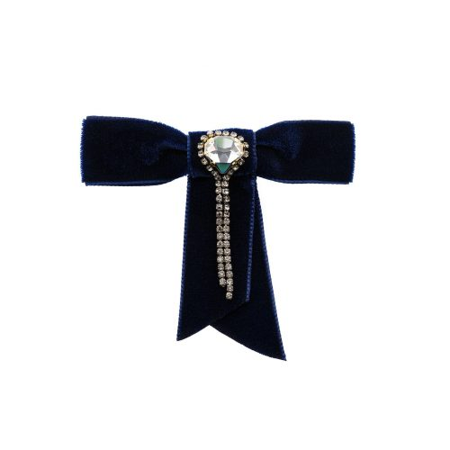 Dark Blue Brooch / Clip for Women or Lapel Pin for Men decorated with Swarovski Crystals | Touch of Luxury - Jewellery Art Avenue