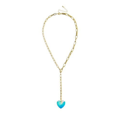 Gold-Tone Necklace with a Swarovski Crystal Heart as a Pendant | Touch of Luxury - Jewellery Art Avenue