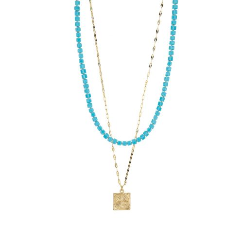 Gold-Tone and Blue Layered Necklace decorated with Swarovski Crystals | Touch of Luxury - Jewellery Art Avenue