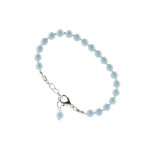 Pastel Blue Beads Beaded Bracelet with Swarovski Pearls | Touch of Luxury - Jewellery Art Avenue