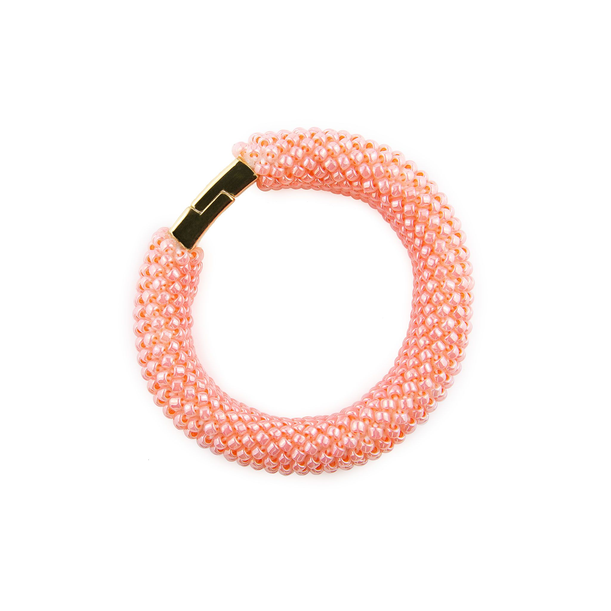 Coral Bead Embroidery Bracelet