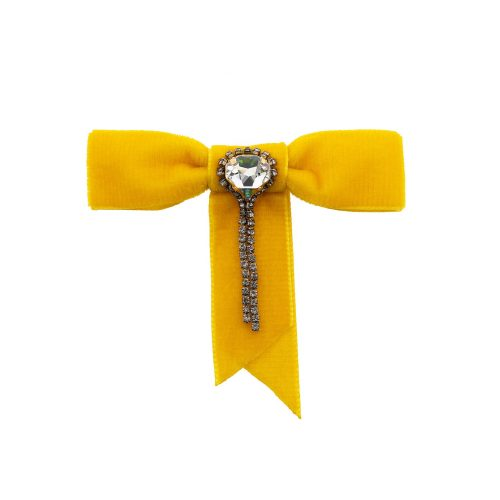 Yellow Brooch / Clip for Women or Lapel Pin for Men decorated with Swarovski Crystals | Touch of Luxury - Jewellery Art Avenue