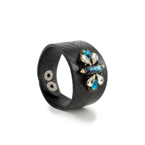 Faux Leather Bracelet Decorated with Swarovski Crystals | Touch of Luxury - Jewellery Art Avenue