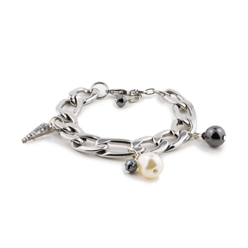 Silver-Tone Bracelet Decorated with Swarovski Crystals, Pearls and Onyx | Touch of Luxury - Jewellery Art Avenue