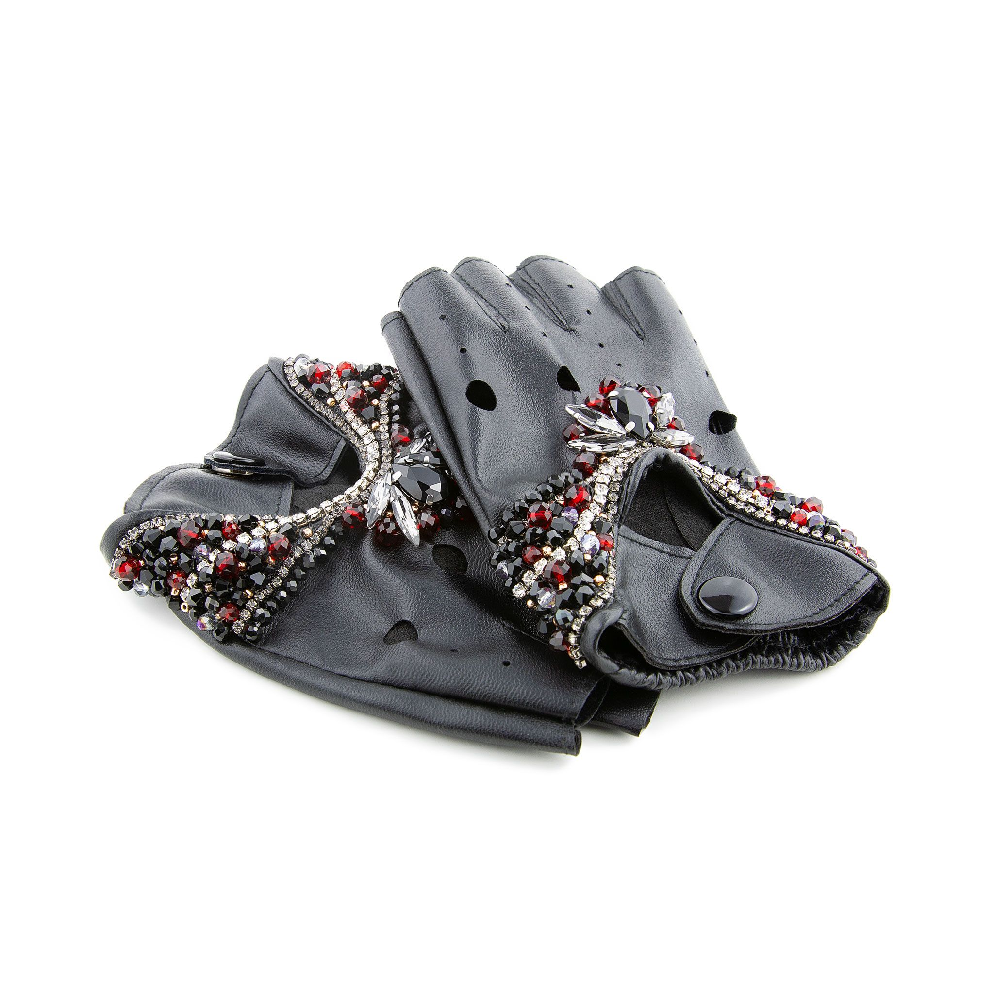 Fingerless PU Leather Gloves
