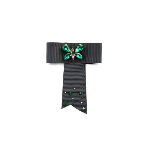 Satin ribbon brooch created with black colour ribbon and decorated with Swarovski crystals at the centre.
