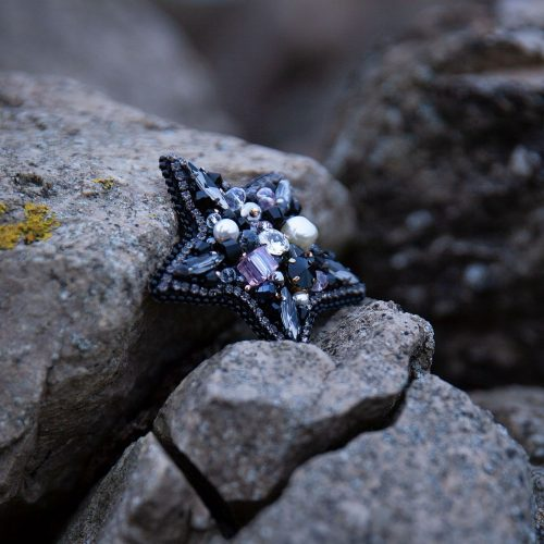 Colourful Swarovski crystal and pearl embroidery star brooch.