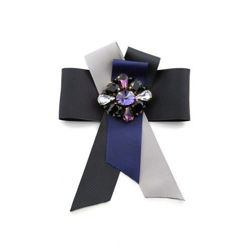 Satin ribbon brooch created with grey, black and blue colour ribbon and decorated with Swarovski crystals at the centre.