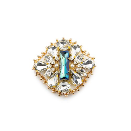 Elegant brooch/clip decorated with Swarovski crystals and pearls, featuring rectangle in teal at the centre.