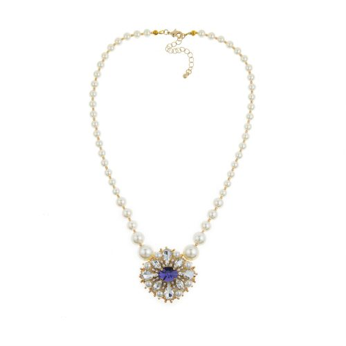 Touch of Luxury | Swarovski pearl necklace with Swarovski Crystals-Embellished Pendant