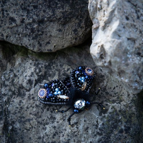 Embroidered Moth Brooch