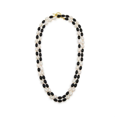 Long black-stone necklace with freshwater pearls and a gold-tone toggle clasp