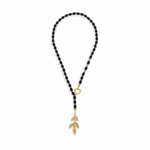 Black stone necklace with a few Swarovski crystals and a gold-tone leafy pendant and toggle clasp