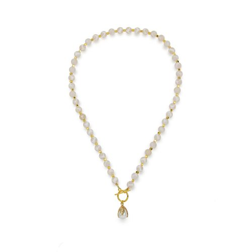 White Onyx stone necklace with a gold-tone toggle clasp decorated with a bold Swarovski pearl