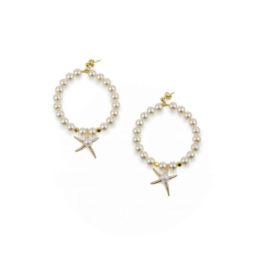 Swarovski pearls hoop earrings decorated with starfish pendant | Jewellery Art Avenue