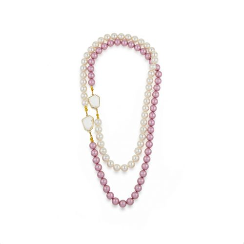 Due-tone long Swarovski pearls necklace decorated with Swarovski crystals | Jewellery Art Avenue