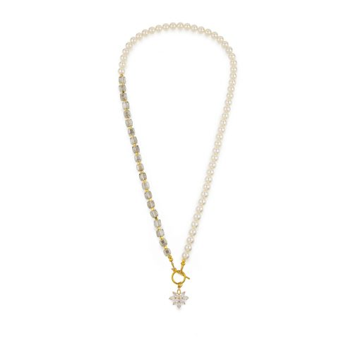 White Swarovski pearls and crystals necklace decorated with gold-tone findings and crystal flower pendant   Jewellery Art Avenue