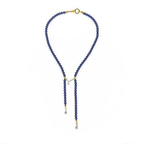 Royal-blue Swarovski pearls necklace decorated with Swarovski crystals | Jewellery Art Avenue