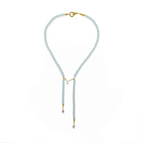Sky-blue Swarovski pearls necklace decorated with Swarovski crystals | Jewellery Art Avenue