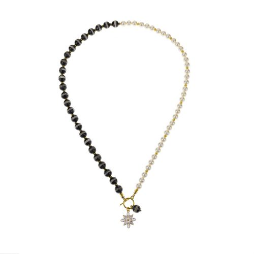 Black Agate and Swarovski pearls necklace decorated with gold-tone accents and flower pendant | Jewellery Art Avenue
