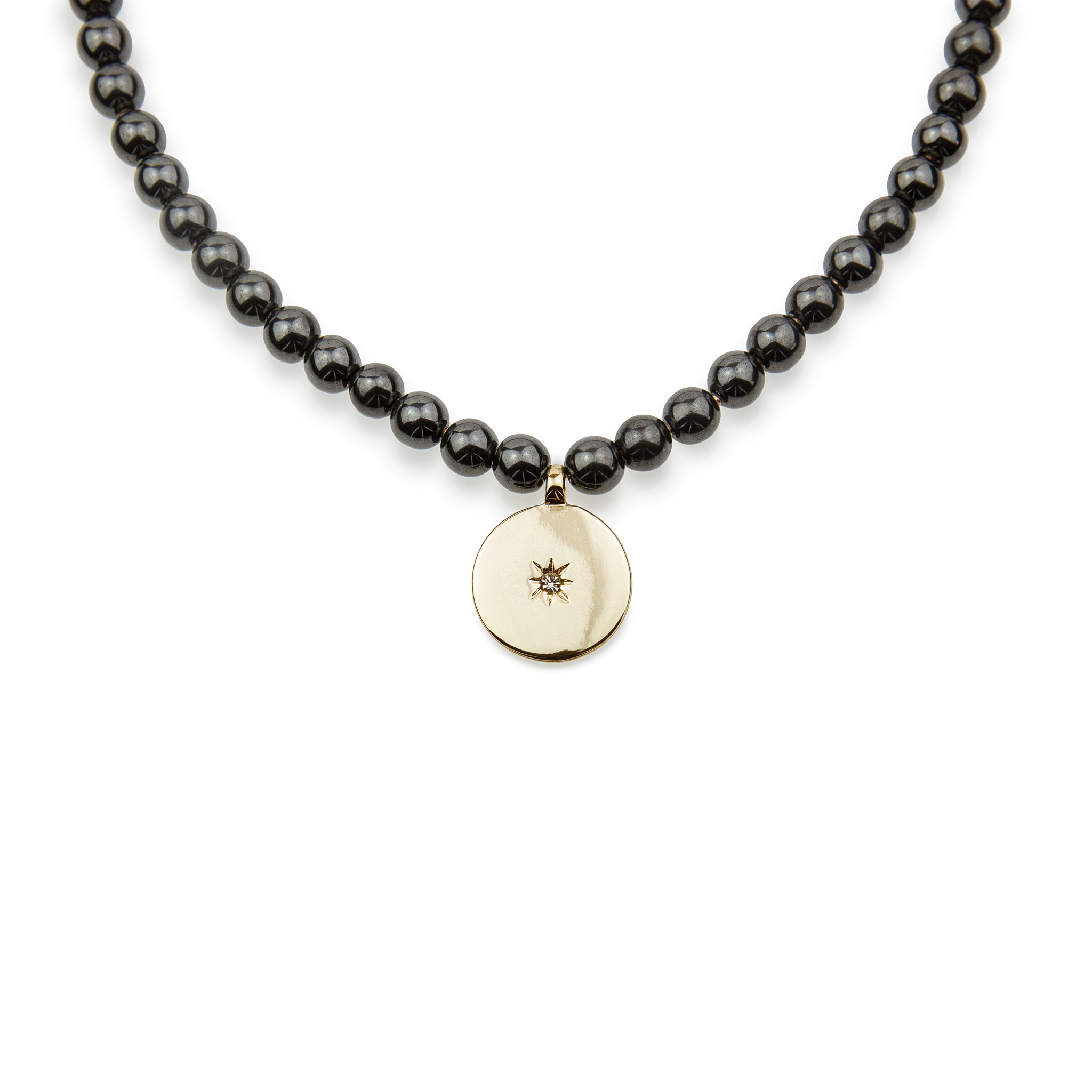 Hematite Stone Necklace Decorated With A Circle Pendant