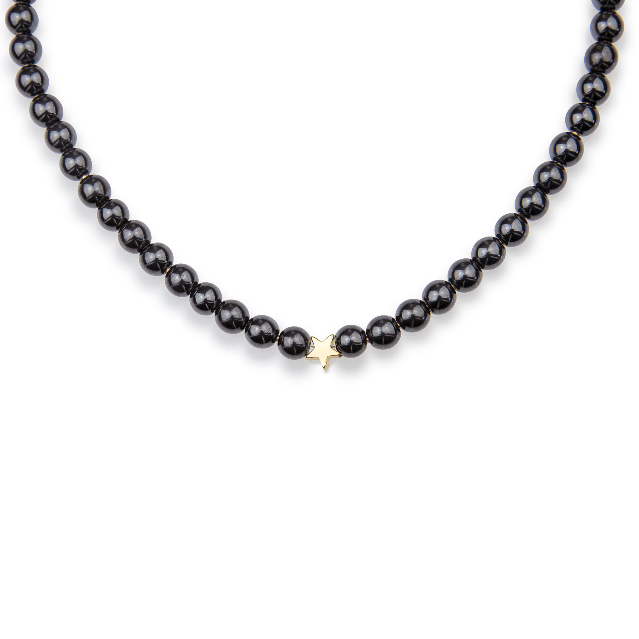 Hematite Stone Necklace Decorated With A Star