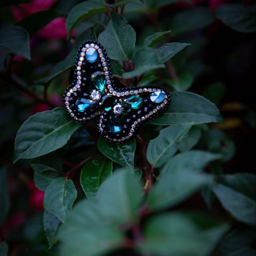 Swarovski Crystals and Swarovski Pearls Butterfly Brooch