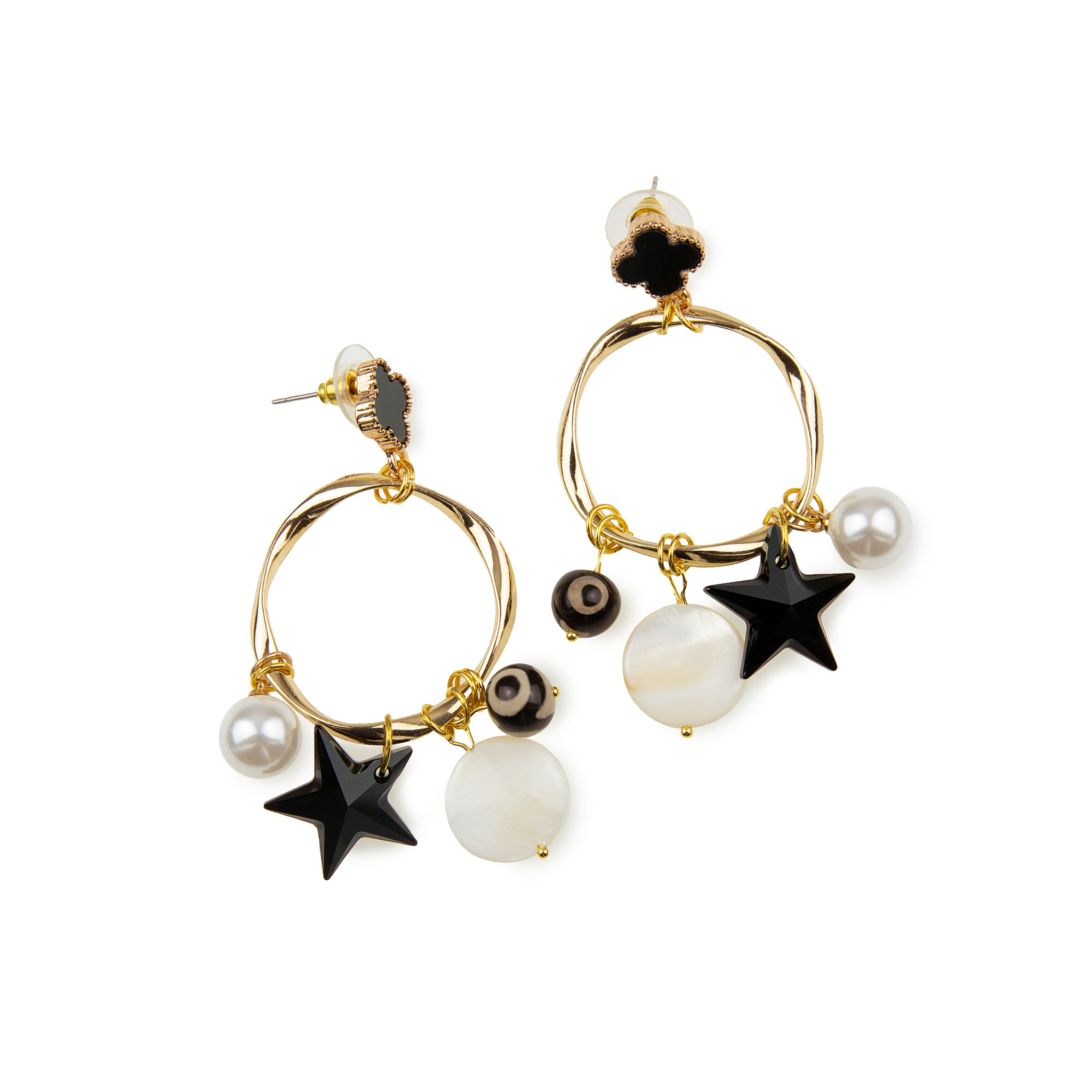 Drop earrings decorated with golden details, Swarovski Pearls, Agate Stone and Freshwater Pearls