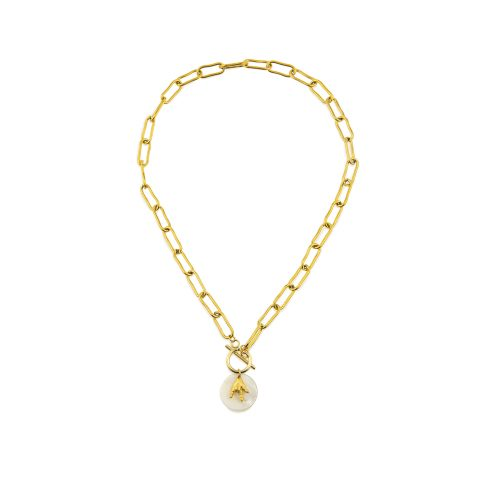 Gold-Plated Chain Necklace with a Hand Pendant