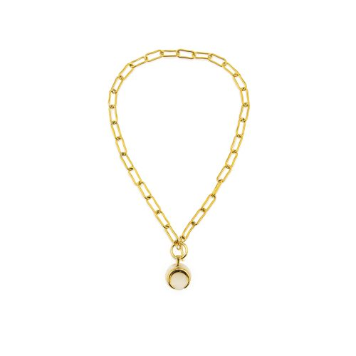 Gold-Plated Chain Necklace with a Moon Pendant