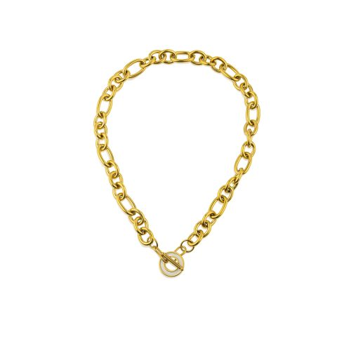 Gold-Plated chain necklase decorated with a unique toggle clasp