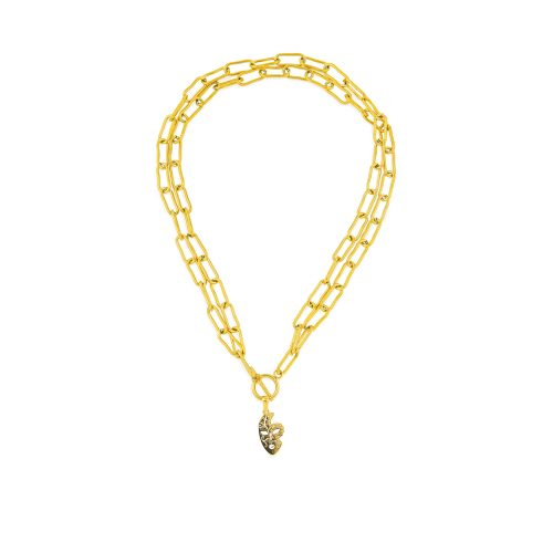Gold-Plated Double Chain Necklace with a Face Pendant